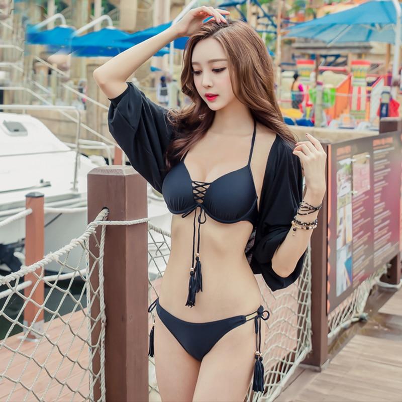 3 Pieces Solid Braided Rope Sexy Women Bikini Swimwear