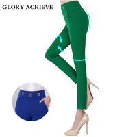 High Quality Women Elegant Candy Colors Pencil Pants Office OL Style Work Wear Skinny Pants High