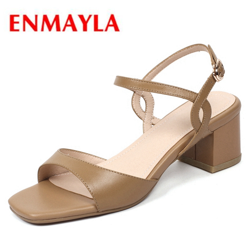 ENMAYLA Women Med Heels Ankle strap Shoes women Summer Causal shoes Buckle strap Open toe Thick heels Metal Ladies Shoes CR238