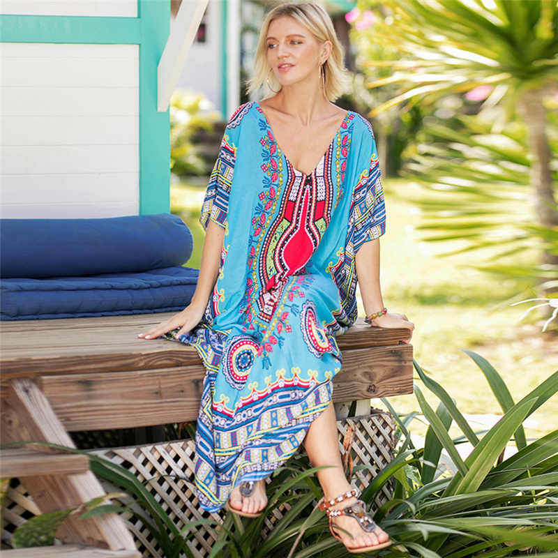 70f11d22a2a6a Oversize Pareo Kaftan Beach Tunic Dress Women Summer Swimsuit Cover Up  Large Size Strand Tunica Robe