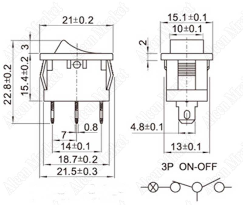 1000 pcs/lot Rocker Switch KCD1-101 Avec Rouge Lumière 3 Pied 2 Fichier Power Bascule Interrupteur 6A/250 V 10A/125 V