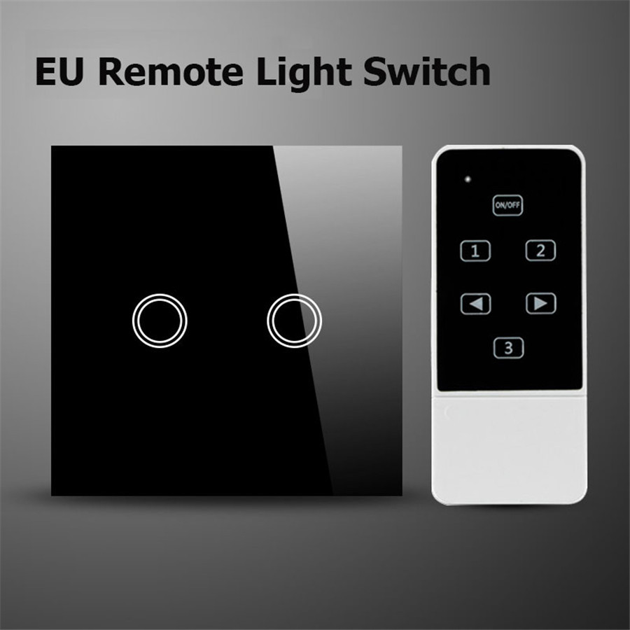 EU Standard 2 Gang 1 way Remote Control Switch Luxury Glass Wall Light Switch With LED Indicator Working w Broadlink RM PRO 2017 free shipping smart wall switch crystal glass panel switch us 2 gang remote control touch switch wall light switch for led