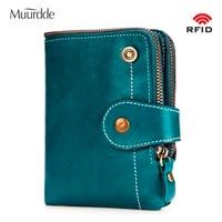Muurdde Fashion Women Genuine Leather Wallet Short Female RFID Mini Wallets Buckle Zipper Design With Holder Coin Purse Pockets