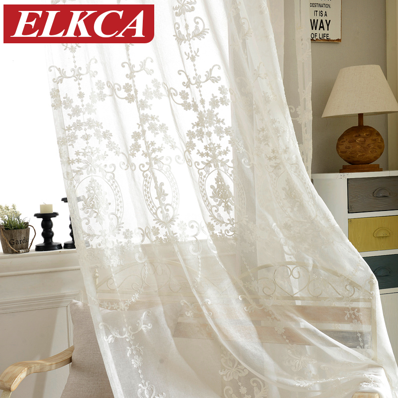 European White Embroidered Voile Curtains Bedroom Sheer For Living Room Tulle Window Panels Screening