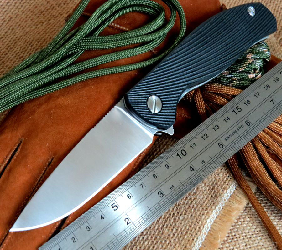 Good Looking Black Texture Bearing font b knife b font 9CR18MOV blade G10 Handle font b