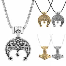 Nordique Vikings accessoires collier hommes femmes Vintage amulette Thor tête de chèvre croissant pendentif colliers plaqué métal bijoux cadeau