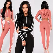 2019 Women Tracksuit Casual Hooded Long Sleeve Croped Pullover Sweatshirt Pants Sportswear 2 Pieces Set tracksuit women