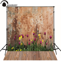Allenjoy Photographic background Tulip old wooden wall newborn vinyl backdrops lovely princess baby shower wood