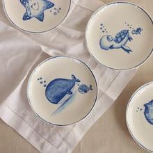 Unterwasserwelt Ping Knochen Porzellanteller, blauen Ozean-Basierend Dim Sum Gericht, Küchenutensilien Westliche Küche Eine Steak Teller
