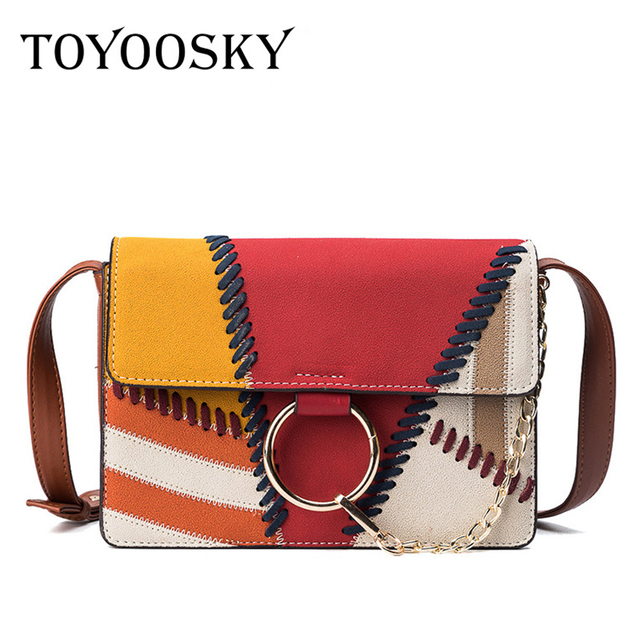 03c7a6533f91 TOYOOSKY Classic Woman Crossbody Bag Female Panelled Thread Flap Quilted  Famous Brand Designer Shoulder Velour Handbags