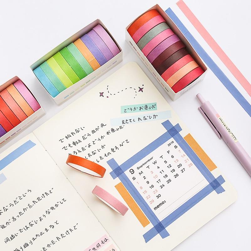 10pcs Solid Color Paper Washi Tape Set 8mm Slim Adhesive Decoration Masking Tapes Label Sticker Scrapbooking Stationery