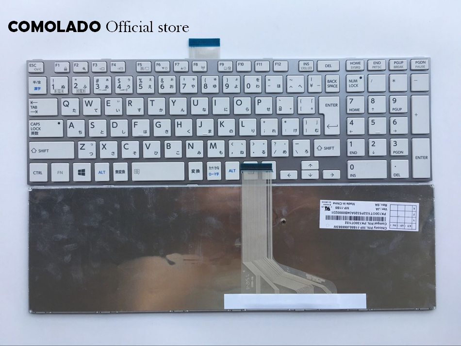 JP Japan keyboard for TOSHIBA L850 L855 L870 L850-T01R P850 S850 S855D C850 white with silver frame keyboard JP Layout image