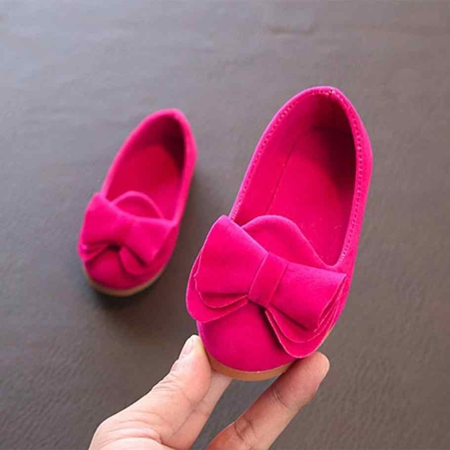 ขายร้อน 2018 เด็กรองเท้า Big Bow Flock Candy สีรองเท้าเจ้าหญิงรองเท้าเดียวรองเท้าเด็ก