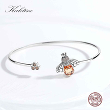 Kaletine 925 Sterling Silver Bracelet Lovely Crystal Bee And