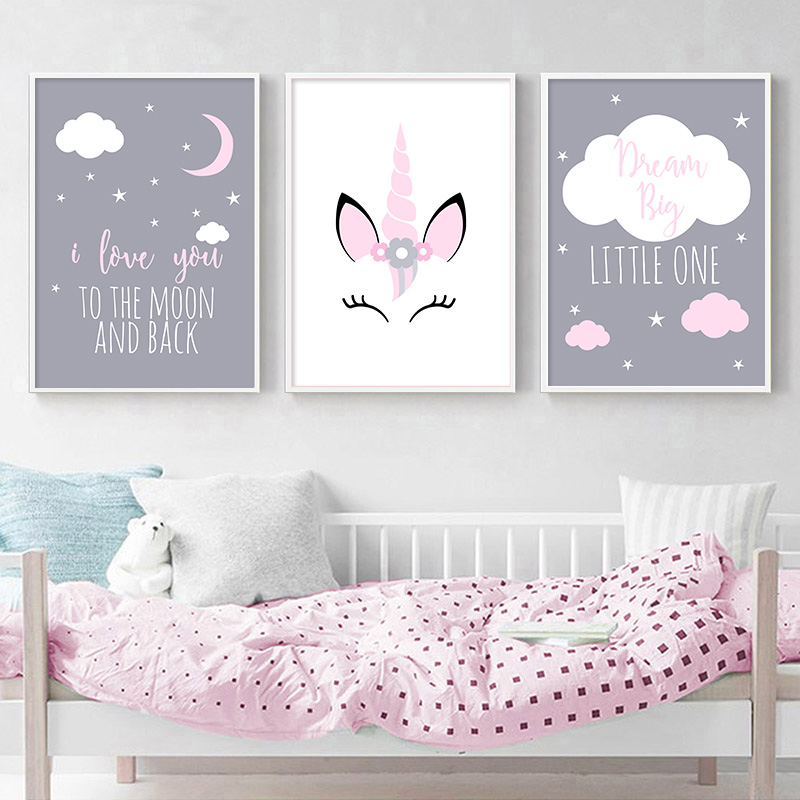 HTB1HDRralr0gK0jSZFnq6zRRXXad Unicorn Canvas Poster Baby Girl Nursery Quotes Wall Art Print Love You to the Moon Painting Nordic Kids Room Decoration Picture