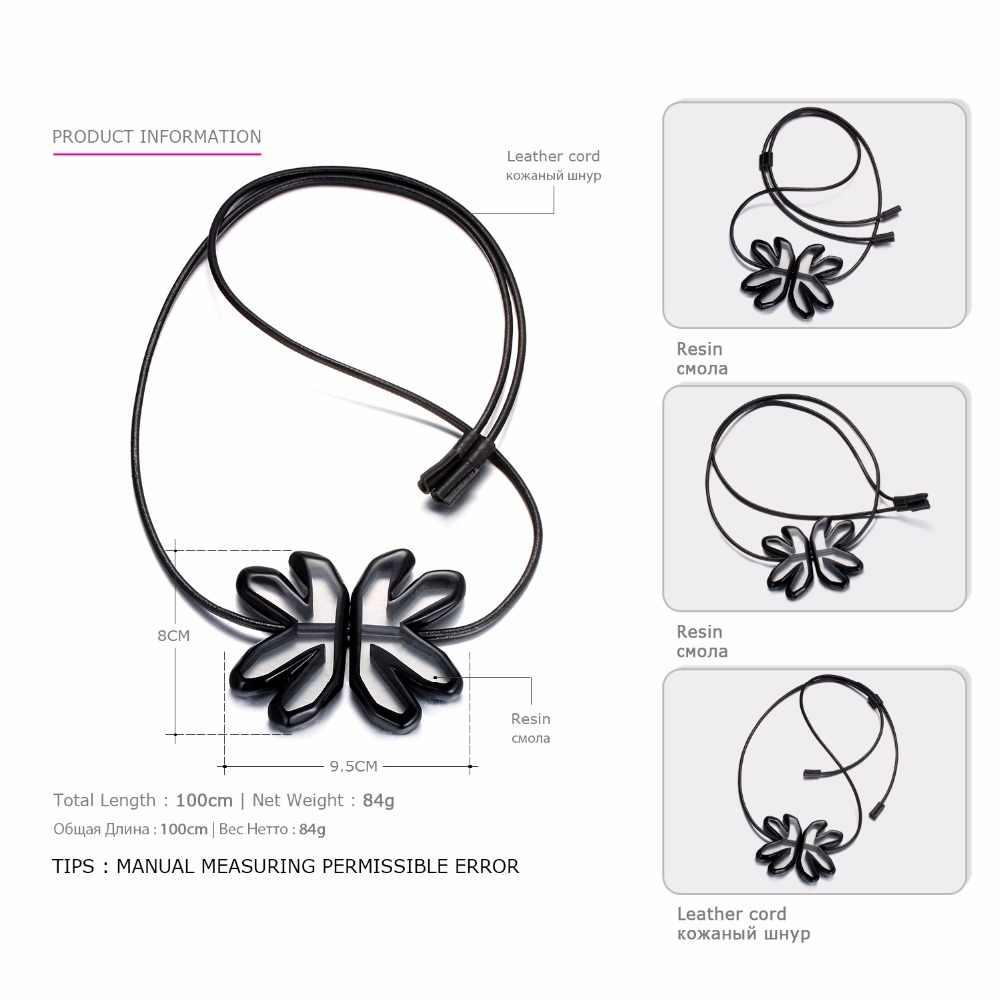 EManco mode exagéré fleur réglable pendentif collier noir résine cuir corde colliers pour femmes bijoux