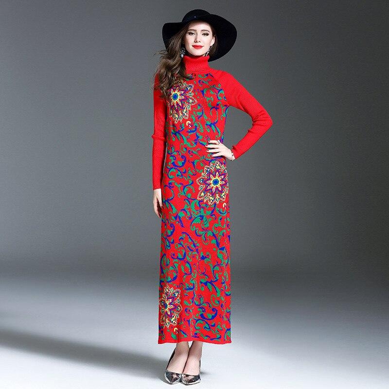 Automne Robe Tricoté Moulante Roulé 2017 Robes Jacquard Floral Longues À Col Laine Chandail Hiver Imprimé Femmes Maxi Nouvelles Rouge Manches qSVLzUpMGj