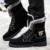 Sapatos de inverno Homens Botas de Neve De Camurça Meados de Bezerro de Couro De Altíssima Qualidade Outono Tático Militar À Prova D' Água Preto Botas de Equitação