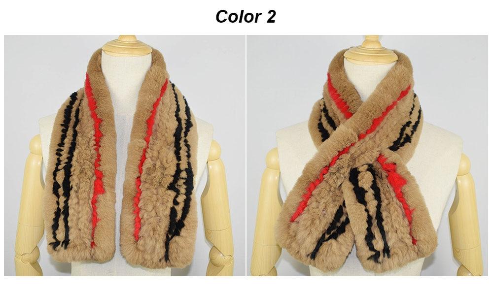 rex rabbit fur scarf plaid color 2