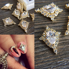 10pcs 3D alloy Zircon Nail art Accessories luxury zircon crystal moon nails jewelry top-level nail beauty Charms