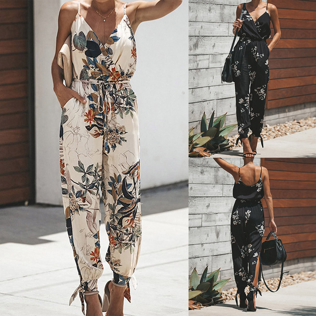 2019 Summer Top Women's Printing Color Casual Sleeveless V-neck Strap Lace   Jumpsuit
