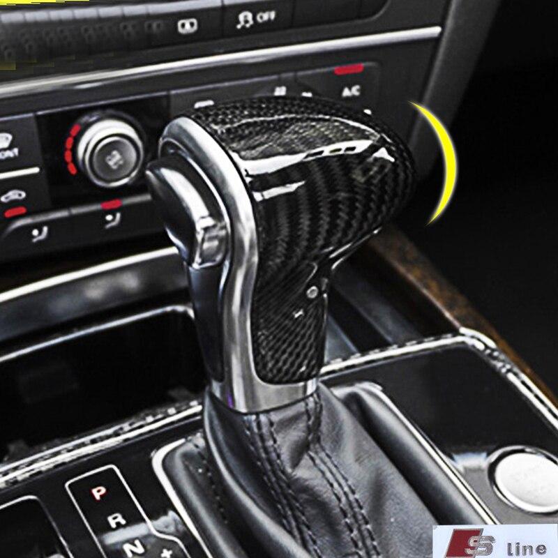 Pour Audi fibre de carbone poignée de changement de vitesse modifié accessoires A4/A5/A6/A7/Q5/Q7/S6/S7 voiture autocollants intérieur