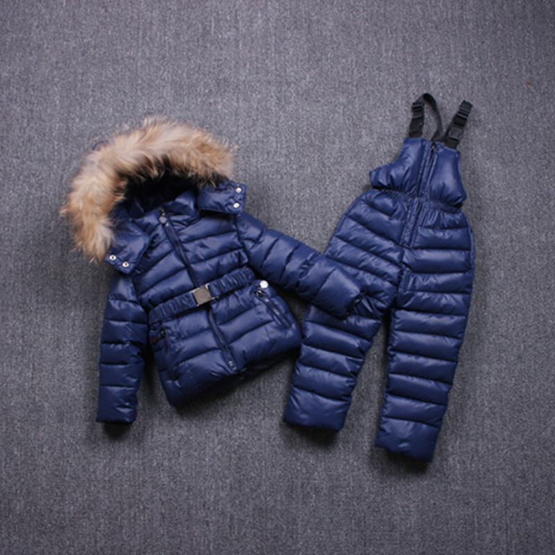 Children Winter Clothes for kids baby big girl Ski sport Suit fur hooded ski Warm girl Coats Jackets+Bib Pants sport s 2017 winter children clothing set russia baby girl ski suit sets boy s outdoor sport kids down coats jackets trousers 30degree
