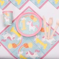 Riscawin 사랑스러운 유니콘 종이 생일 파티 장식 8 팩 일회용 식기 세트 아기 샤워 용품