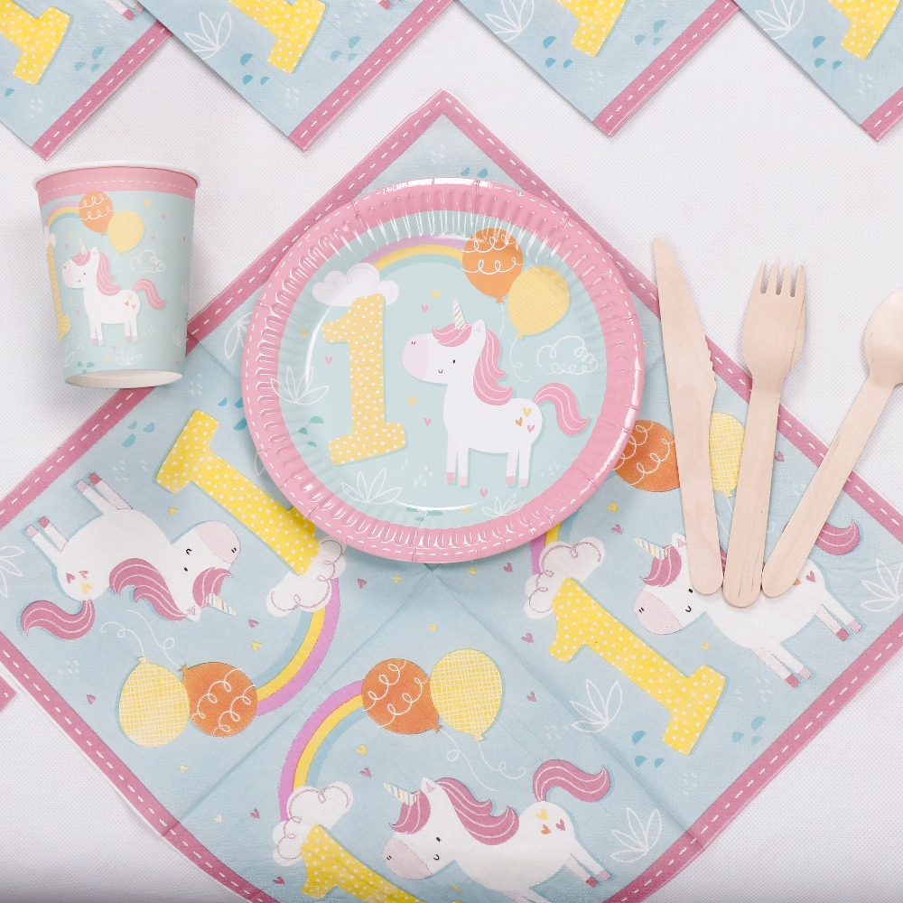 Riscawin lovely unicorn paper plates 1st birthday party for 1st birthday decoration packs