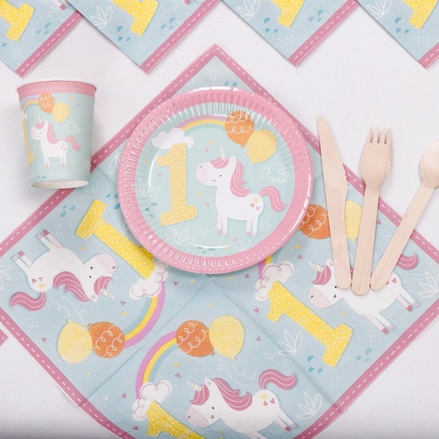 Riscawin Lovely Unicorn Paper Plates 1st Birthday Party Decoration
