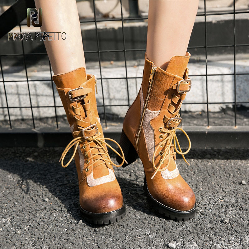 Prova Perfetto 2018 New Design Women Spring Boots Lace Up Thick Heel Platform Motorcycle Bota Round Toe Ankle Bootie Female prova perfetto new hot women martin boots autumn round toe flat platform shoes woman lace up female genuine leather ankle boots
