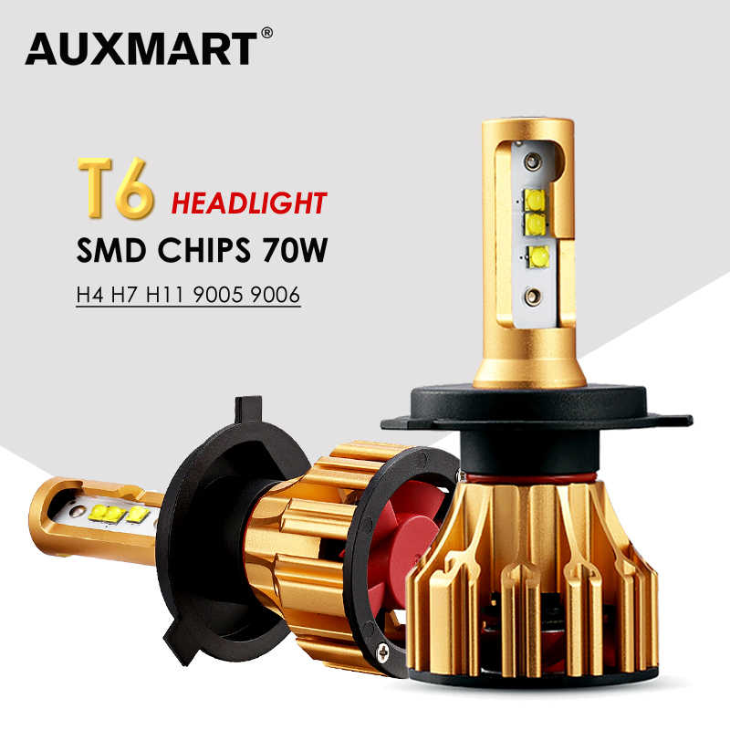 AUXMART Hi-Lo Beam H4 LED Headlight Bulbs 6500K 70W T6 Series Led H7 9005 9006 Automobile Car Headlamp H11 H8 Car Lamps 12V 24V