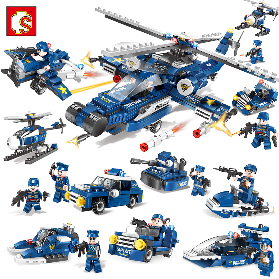8IN1 Swat Police Force Helicopter Cars Building Blocks Compatible Legoed City Construction Classic Toys For Children Boys Hobbit haptic information in cars