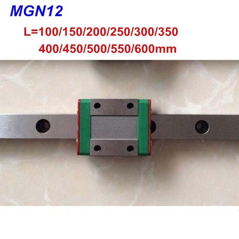 12mm mini Linearführung MGN12 100 150 200 250 300 350 400 450 500 550 600mm + MGN12C oder MGN12H block für 3d drucker CNC teile