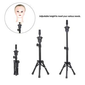 Image 4 - 조정 가능한 미니 미용 삼각대 미용사 훈련 머리 거짓 머리 테이블 스탠드 거짓 머리 홀더 머리 가발 금형 클램프