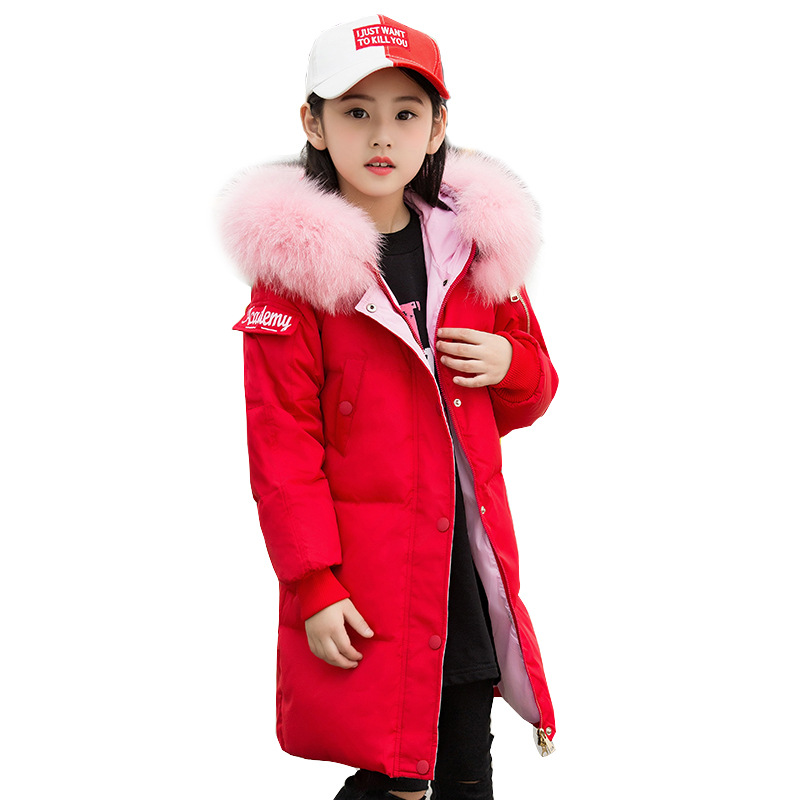 Girl's Fashion Thick Keep Warm Long Letter Printing White Duck Down Coats Jackets With Hooded Children Kids Pockets Outwear New dexia new fashion girls thick parka hoody long sleeve long pattern letter printing white duck down coats girl snow clothes 1920