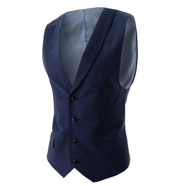 Traje Azul marino Chaleco Singest Breasted Botones Diseñador Hombres Chalecos Chaquetas Sin Mangas de Algodón Slim Fit Casual Primavera Otoño
