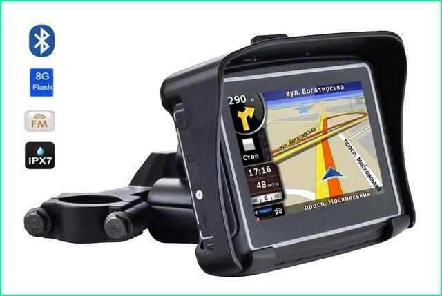 """Новый Автомобильный GPS Мотоцикл gps навигации 4.3 """"TFT Bluetooth с IPX65 Водонепроницаемый gps навигации бесплатную карту"""