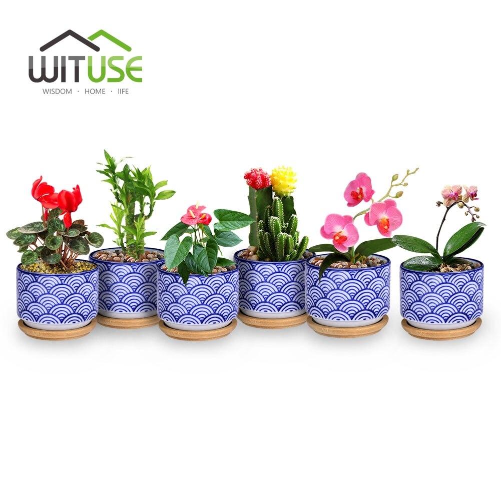 WITUSE 6pcs/lot flower pots Vintage Succulent Planter decorative porcelain Ceramic Flowerpot garden plant pots Desktop Ornament
