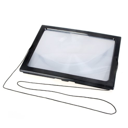 KSOL Ultrathin A4 Full Page Large PVC Magnifier 3X Foldable Magnifying Glass Loupe Hands Free for Reading with 4 LED Lights