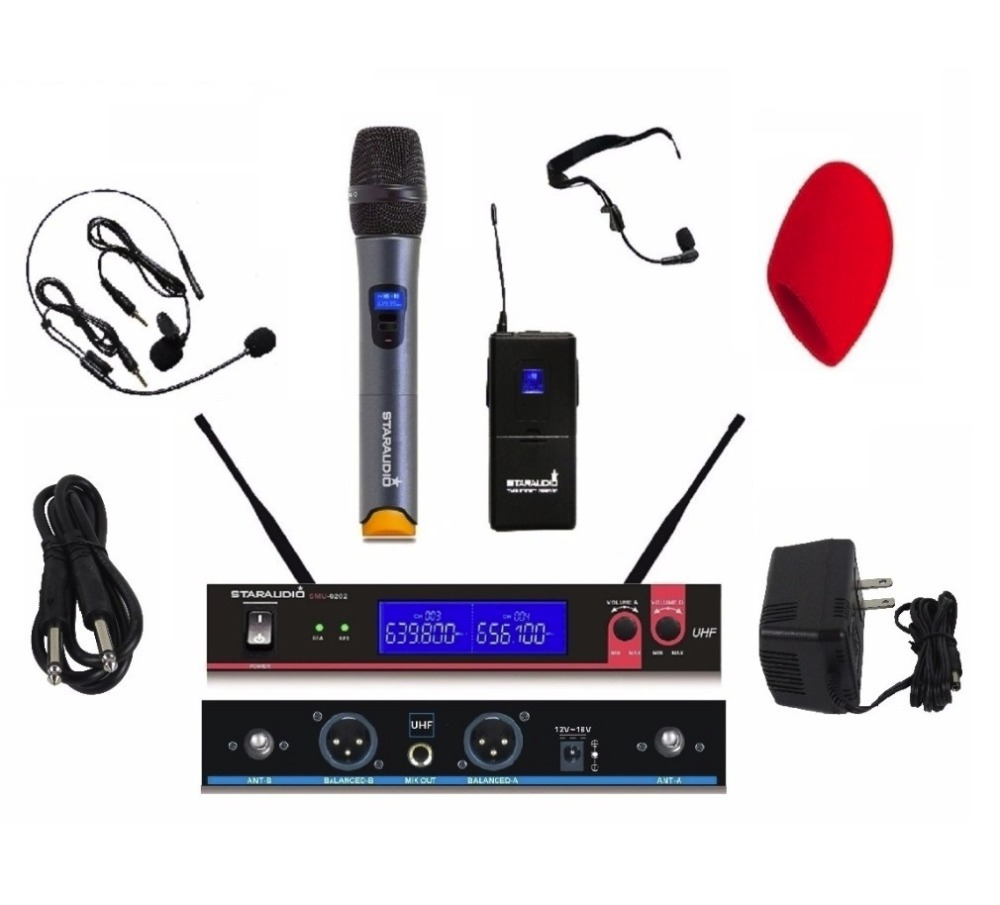 STARAUDIO SMU-0202A+B UHF Wireless 2 Channel Mic System 1 Handheld 1 Headset Microphones for DJ Stage Church Karaoke KTV freeboss m 2280 50m distance 2 channel headset mic system karaoke party church uhf wireless microphones