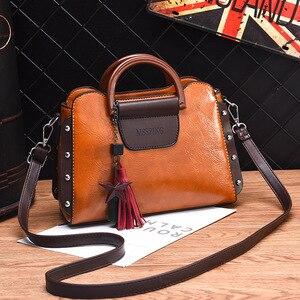 Image 2 - ETONTECK 2018 New Fashion Luxury Women PU Leather Handbags Vintage Rivet Tassel Messenger Bag for Female Ladies Shoulder Bag