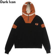 Dark Icon Half Front Zipper Pullover Hoodie Men Patchwork Loose Hip Hop Mens Sweatshirt 2Colors