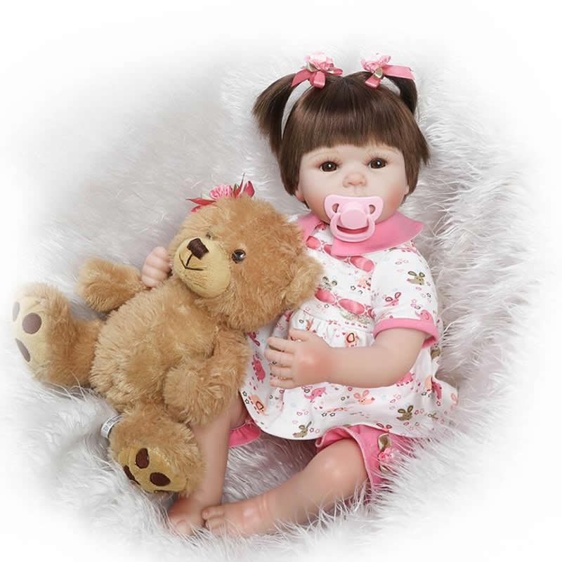 Handmade Reborn Baby Girl Doll 20 Inch 50 cm Realistic Newborn Silicone Babies Lifelike Doll Toy Brinquedo Kids Birthday Gift can sit and lie 22 inch reborn baby doll realistic lifelike silicone newborn babies with pink dress kids birthday christmas gift