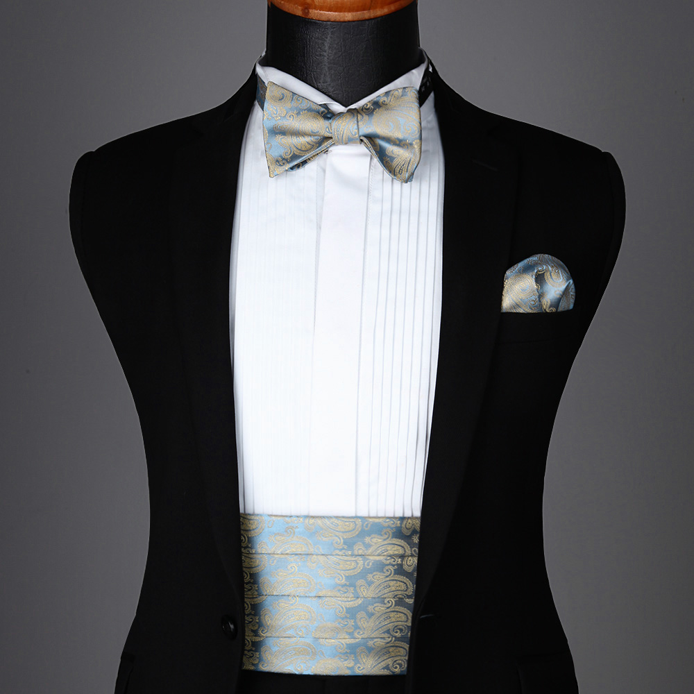 Men/'s Woven Formal Paisley Flower Cummerbund Self Bow Tie /& Pocket Square Set