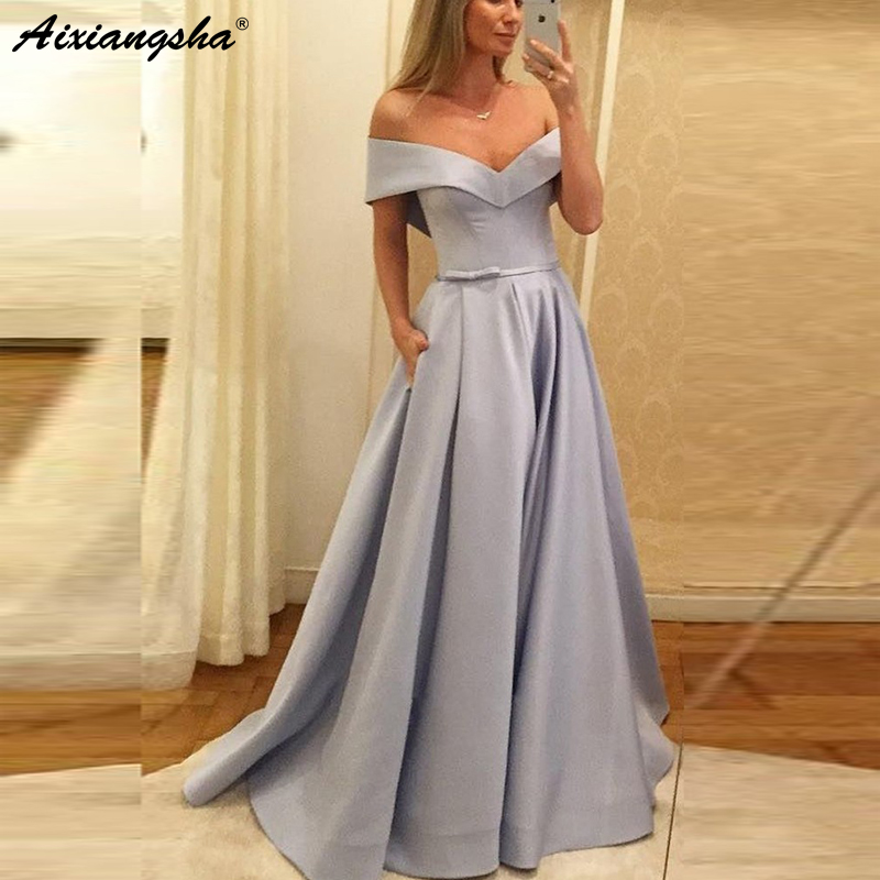Aliexpress.com : Buy Simple Silver Muslim Evening Dresses