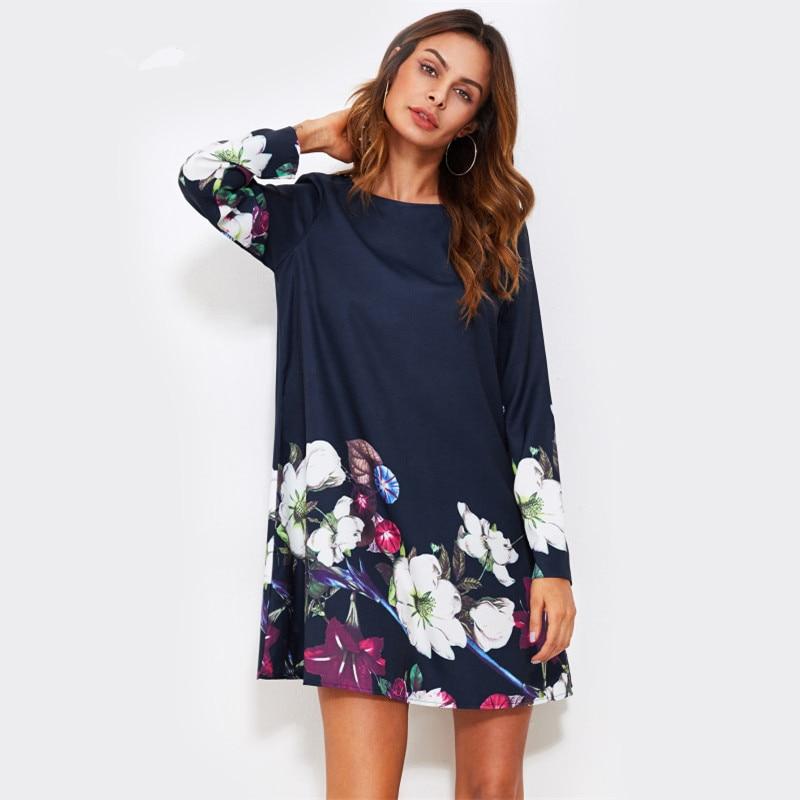 Fall Dress Flower Print Flowy Dress Navy Boat Neck Long Sleeve A Line Dress Autumn 2018 Casual Womens Dress