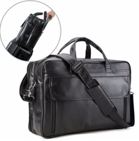 Men S Nappa Leather Large 17 Laptop Satchel Multi Functional Briefcase Messenger Shoulder Bag Bussiness Office