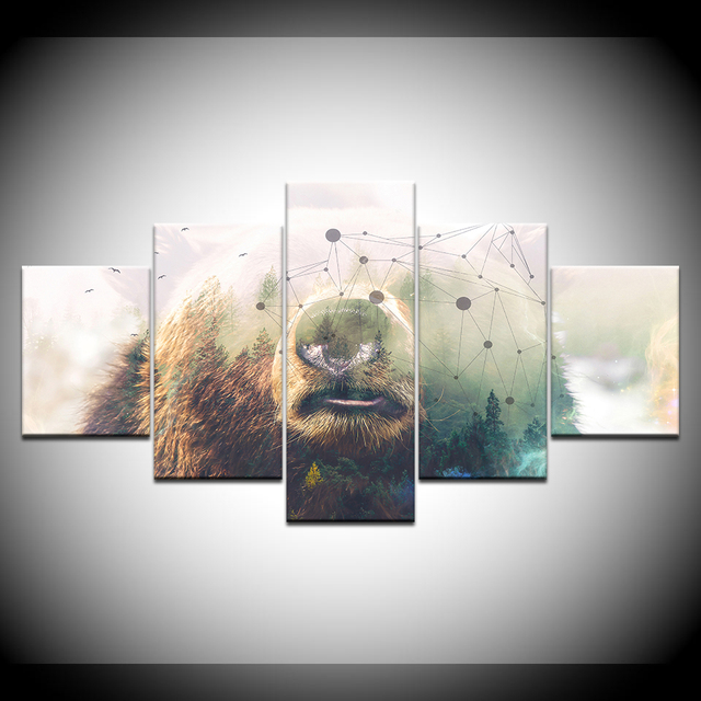 Nordic HD Printed Modular Abstract Pictures Frame Canvas 5 Panel ...