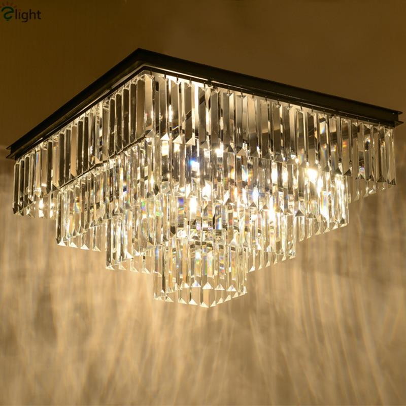Американский RH матовый черный железа блеск K9 cristal светодиодный потолочный светильник Лофт ретро минимализм квадратный потолочный светильн...
